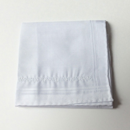 EMBROIDERED HANKERCHIEF 'FOR RARE EMOTIONS'