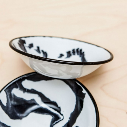 'MARBLE' ENAMEL SMALL BOWL & SAUCE DISH