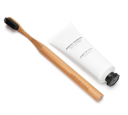 CHARCOAL TOOTHPASTE & BAMBOO TOOTHBRUSH with CHARCOAL BRISTLE